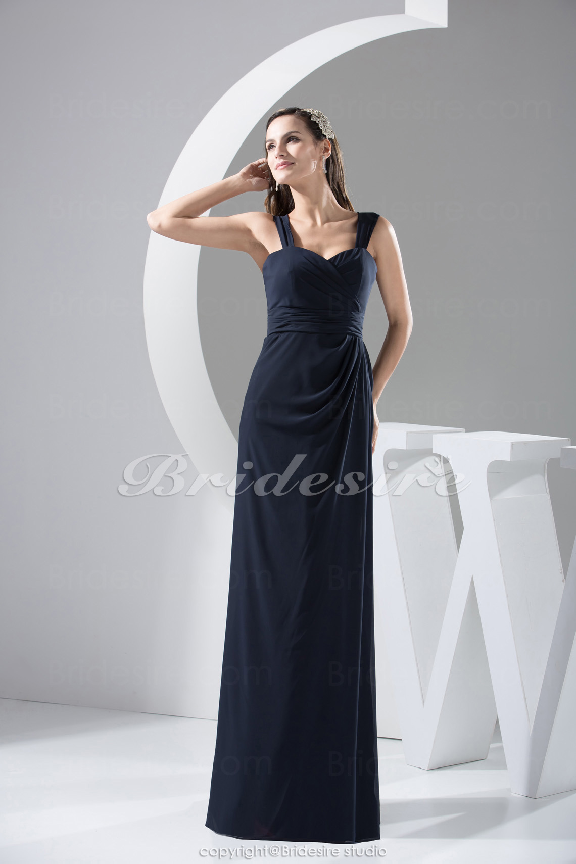 Sheath/Column Spaghetti Straps Floor-length Sleeveless Chiffon B