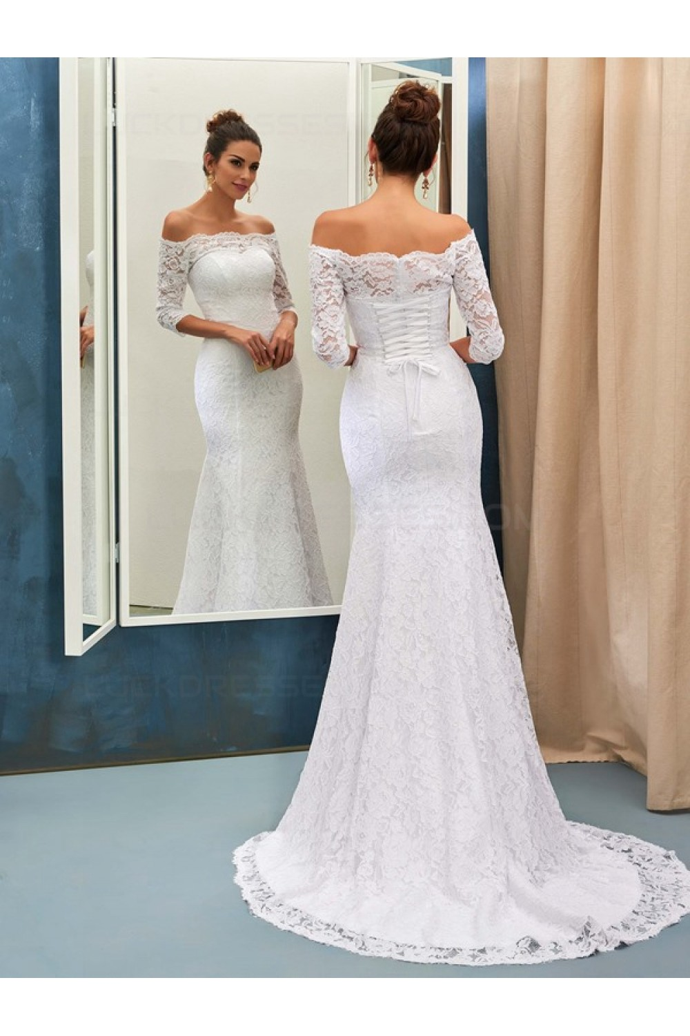Trumpet/Mermaid Off-the-shoulder 3/4 Length Sleeve Lace Wedding