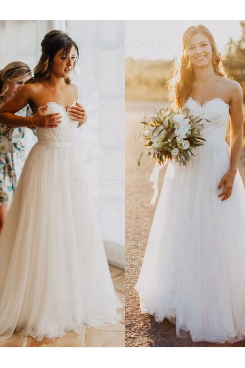 A-line Sweetheart Sleeveless Lace Wedding Dress
