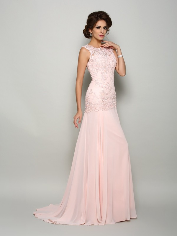 Trumpet/Mermaid Scoop Sleeveless Chiffon Mother of the Bride Dre